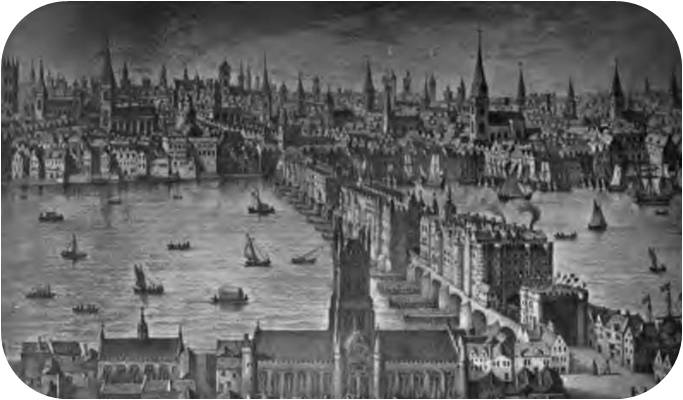 London Bridge (From an engraving by Vischer, 1616).
