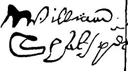 Signature on the deed of sale of a house in Blackfriars, London (1613).